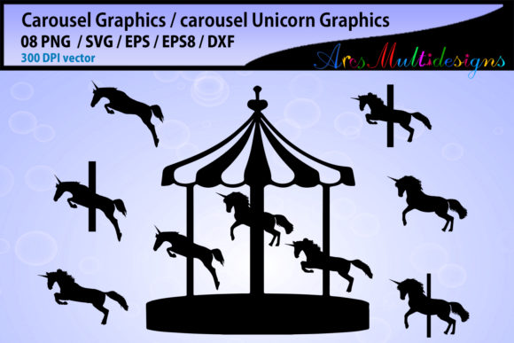 Print on Demand: Carousel Silhouette Svg Gráfico Crafts Por Arcs Multidesigns