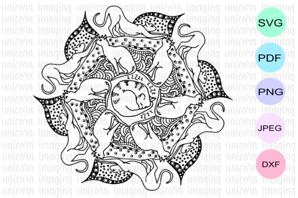 Download Free Cat Mandala Graphic By Unicorn Imaging Creative Fabrica for Cricut Explore, Silhouette and other cutting machines.