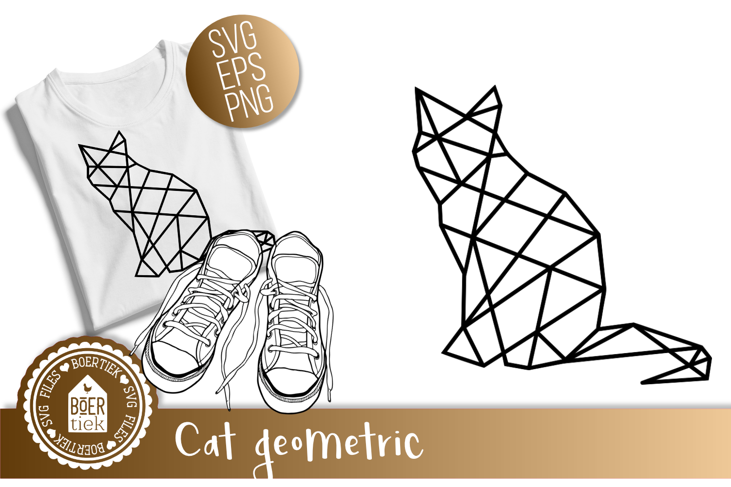 Download Free Cat Geometric Graphic By Boertiek Creative Fabrica for Cricut Explore, Silhouette and other cutting machines.