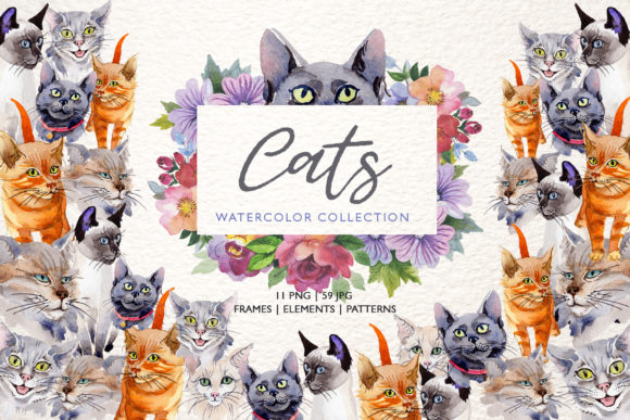 Print on Demand: Cats Watercolor Gráfico Ilustraciones Por MyStocks