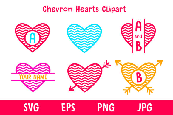 Print on Demand: Chevron Hearts Clipart Graphic Illustrations By davidrockdesign