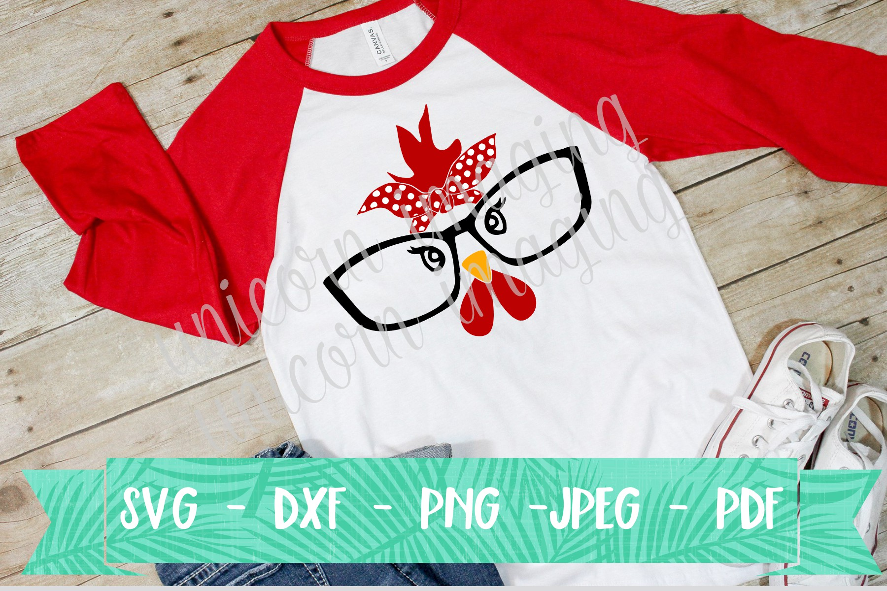 Chicken Face with Glasses SVG File