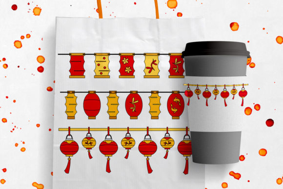 Print on Demand: Chinese New Year Lanterns Graphic Illustrations By Revidevi
