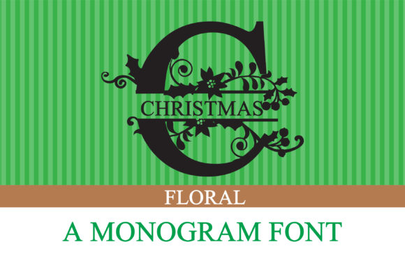 Print on Demand: Christmas Floral Display Font By Illustration Ink