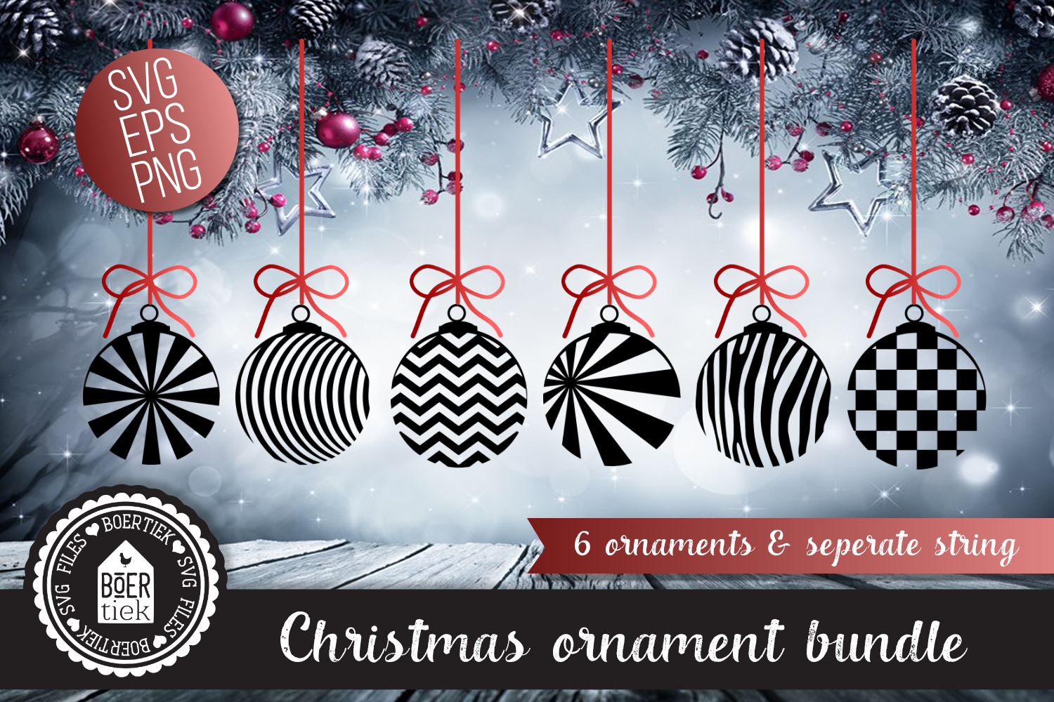 Download Free Christmas Ornament Bundle Graphic By Boertiek Creative Fabrica for Cricut Explore, Silhouette and other cutting machines.
