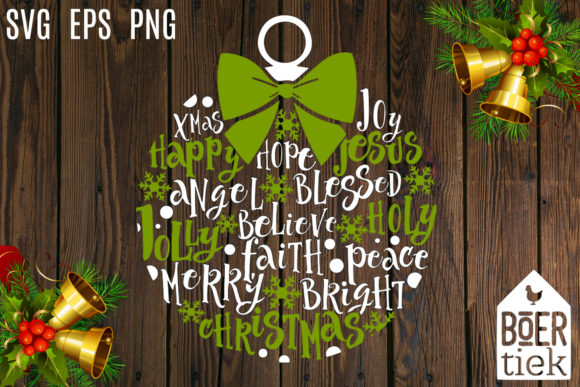 Download Free Christmas Ornament With Words Graphic By Boertiek Creative Fabrica for Cricut Explore, Silhouette and other cutting machines.