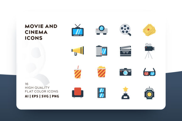 Print on Demand: Cinema Flat Icon Pack Graphic Icons By Goodware.Std