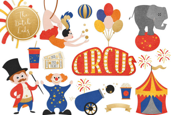 Print on Demand: Circus & Carnival Show Clipart Set Graphic Illustrations By daphnepopuliers
