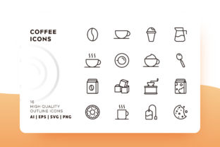 Print on Demand: Coffee Outline Icon Pack Graphic Icons By Goodware.Std