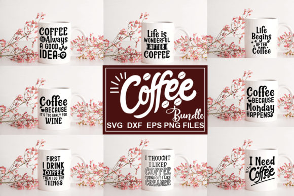 Print on Demand: Coffee Quotes Bundle Graphic Illustrations By svgbundle.net
