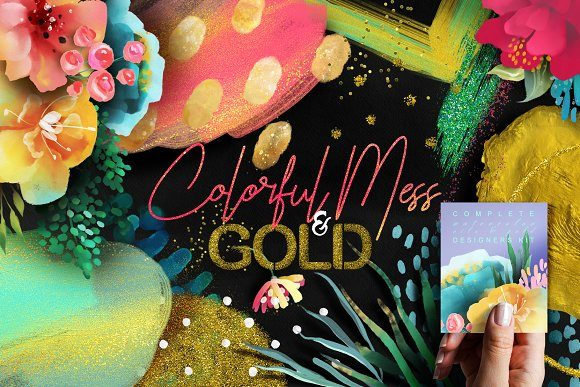 Print on Demand: Colorful Mess & Gold Grafik Illustrationen von Anna Babich