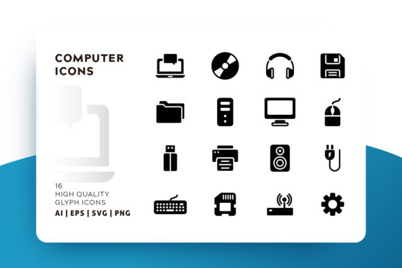 Print on Demand: Computer Glyph Icon Pack Graphic Icons By Goodware.Std - Image 1