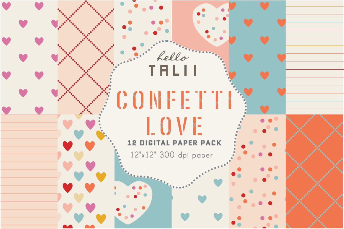 Download Free Confetti Love Digital Paper Graphic By Hello Talii Creative for Cricut Explore, Silhouette and other cutting machines.