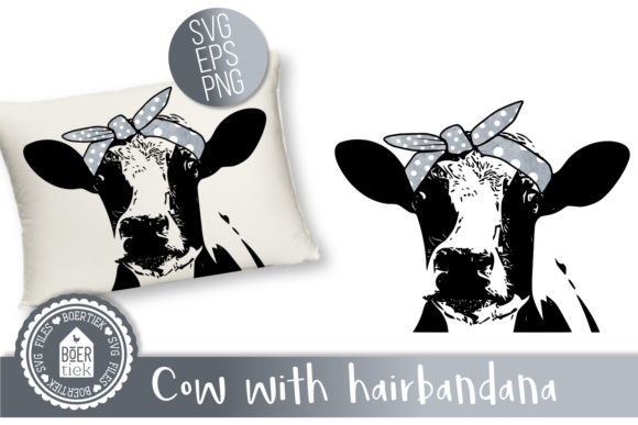 Cow with Hairbandana Graphic Crafts By Boertiek