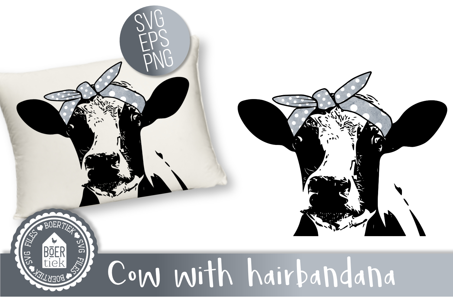 Download Free Cow With Hairbandana Graphic By Boertiek Creative Fabrica SVG Cut Files