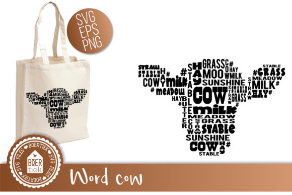 Cow with Words Graphic Crafts By Boertiek