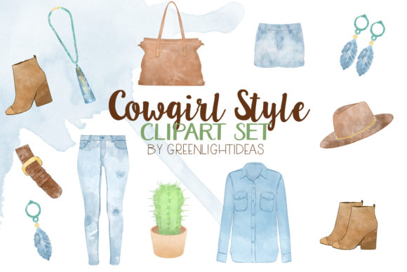 Cowboy Clipart Graphic Illustrations By GreenLightIdeas
