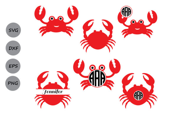 Download Free Crab Monogram Graphic By Cosmosfineart Creative Fabrica for Cricut Explore, Silhouette and other cutting machines.