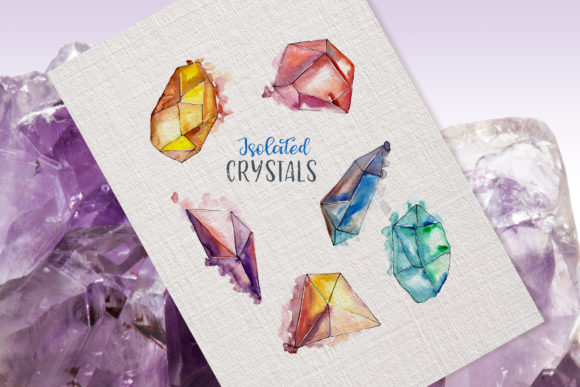 Crystals Watercolor Lilac Color Png Graphic By MyStocks Image 2