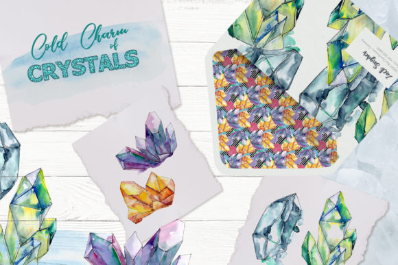 Crystals Blue And Yellow Watercolor Graphic By Mystocks