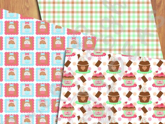 Cupcakes Digital Papers Graphic Backgrounds By GreenLightIdeas - Image 4