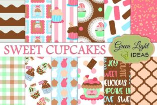 Cupcakes Digital Papers Graphic By GreenLightIdeas