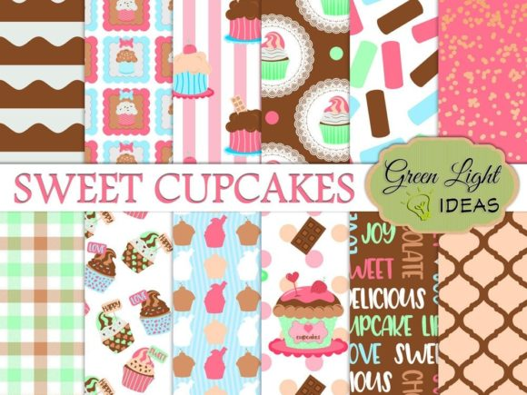 Cupcakes Digital Papers Graphic Backgrounds By GreenLightIdeas