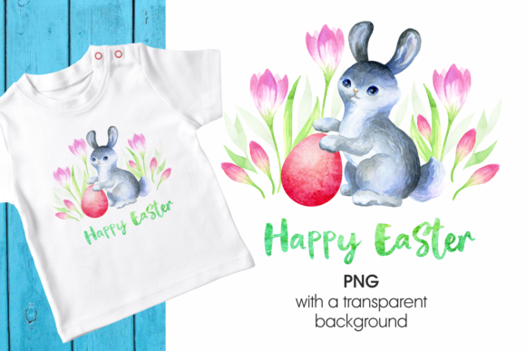 Print on Demand: Cute Easter Bunny Gráfico Ilustraciones Por Olga Belova