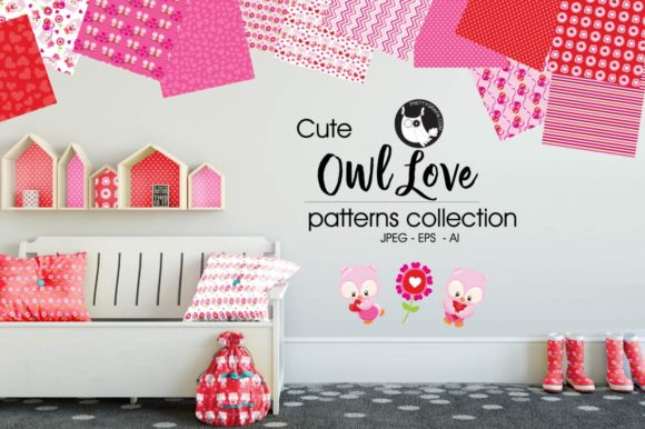 Print on Demand: Cute Owl Love Patterns Graphic Patterns By Prettygrafik