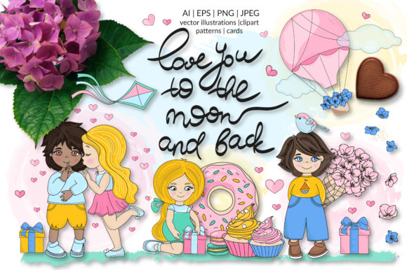 Print on Demand: Cute Valentine Illustration Set Graphic Illustrations By FARAWAYKINGDOM - Image 1