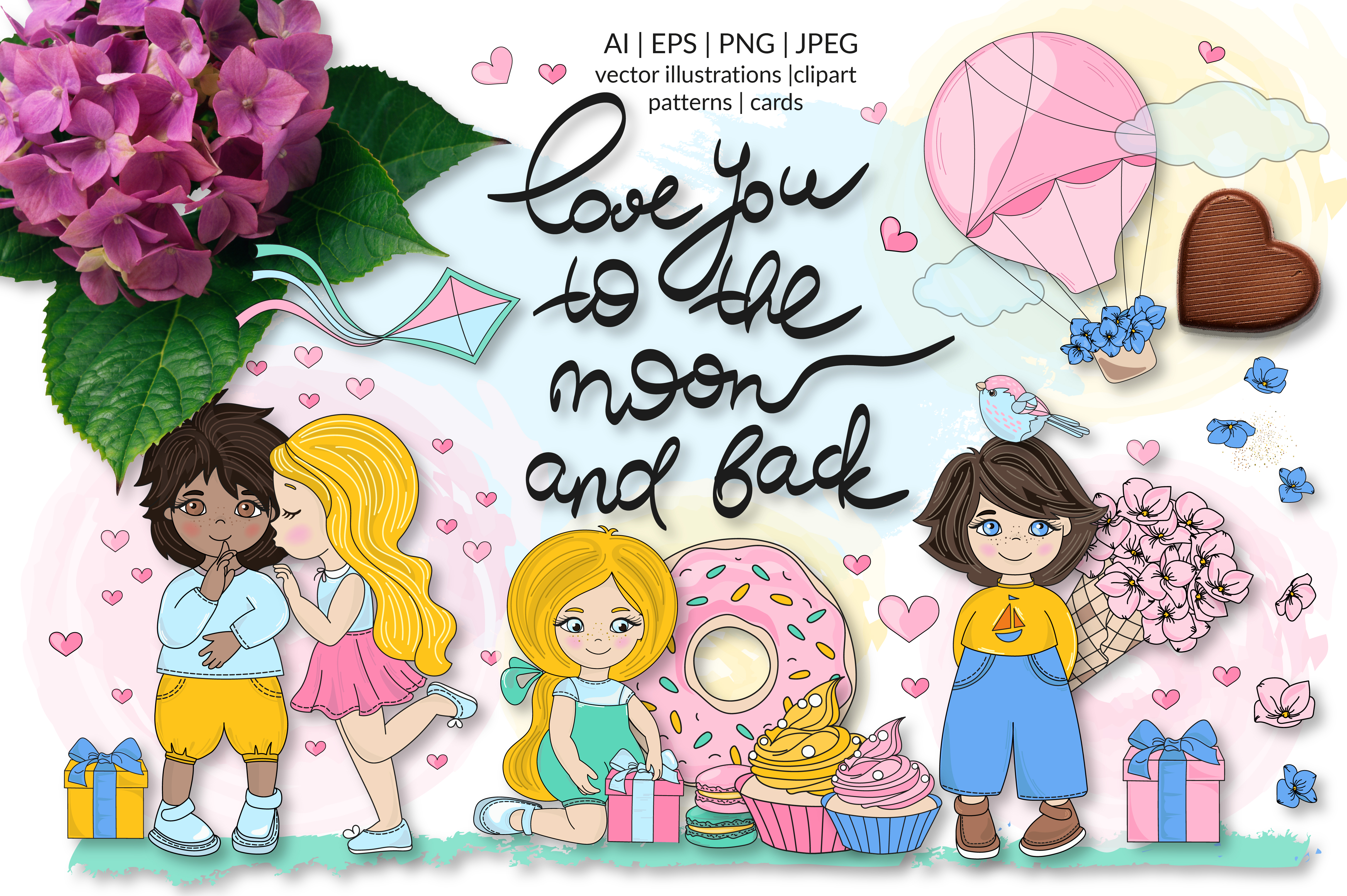 Download Free Cute Valentine Illustration Set Graphic By Farawaykingdom for Cricut Explore, Silhouette and other cutting machines.