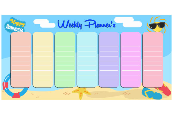 Print on Demand: Cute Vector Weekly Planner Template Graphic Print Templates By iop_micro