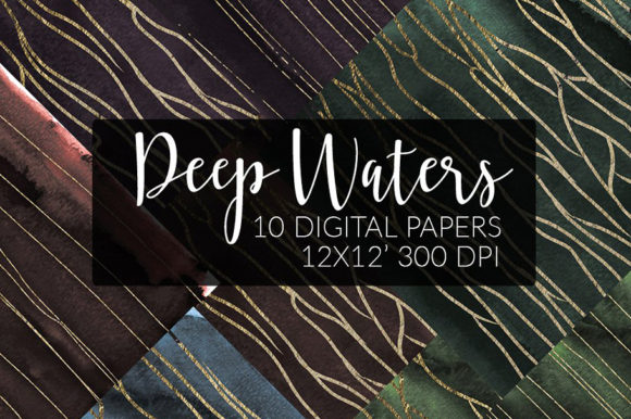 Dark Papers Watercolor + Gold Graphic Textures By ramandu