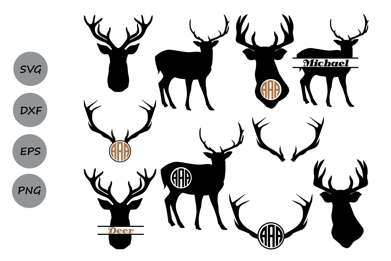Deer Monogram Graphic By Cosmosfineart Creative Fabrica