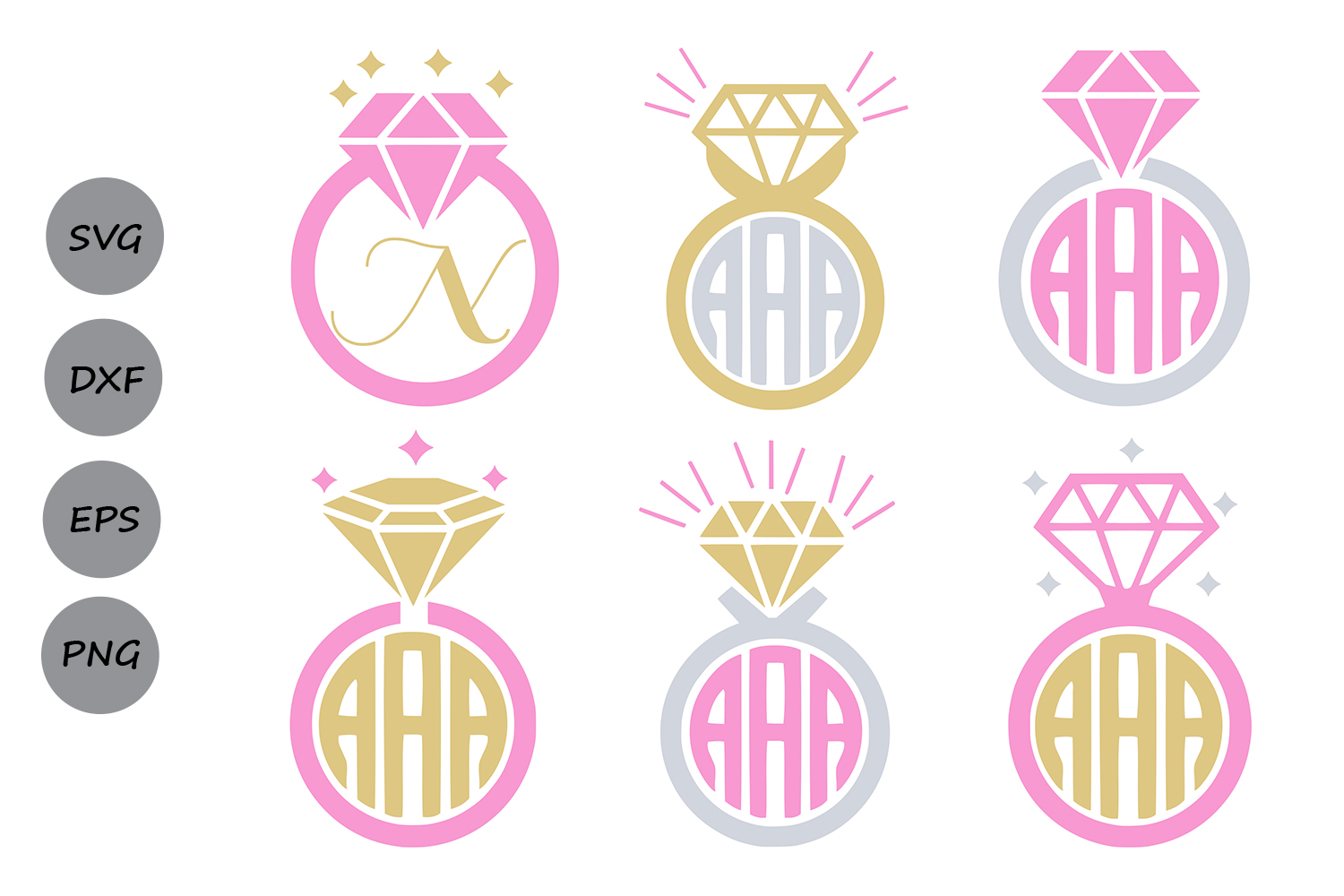 Download Free Diamond Ring Monogram Svg Graphic By Cosmosfineart Creative SVG Cut Files