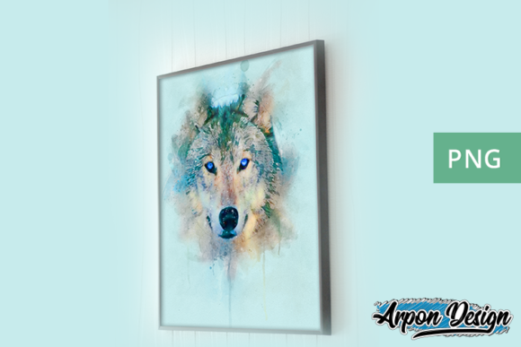 Digital Watercolor Wolf Graphic Illustrations By Arpondesign