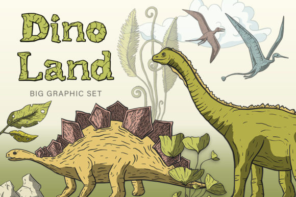 Dino Land Big Graphic Set Graphic By Red Ink Image 1