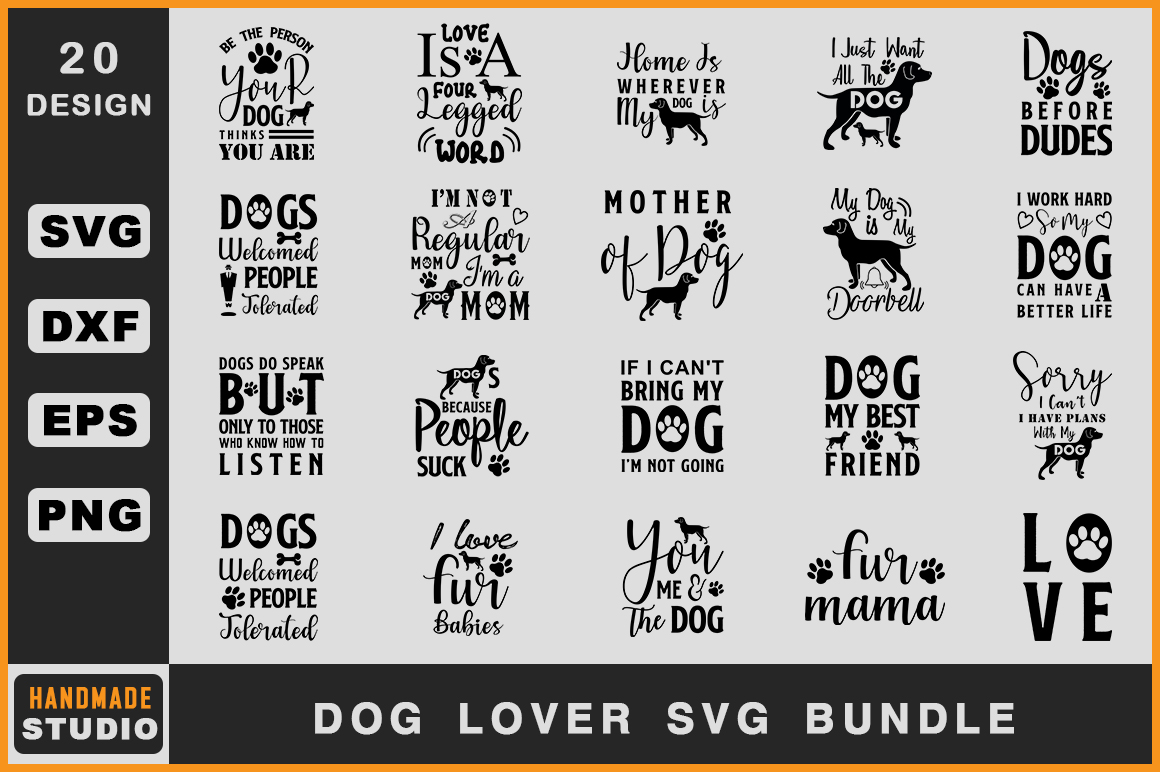 Download Free Dog Lover Bundle Graphic By Handmade Studio Creative Fabrica for Cricut Explore, Silhouette and other cutting machines.