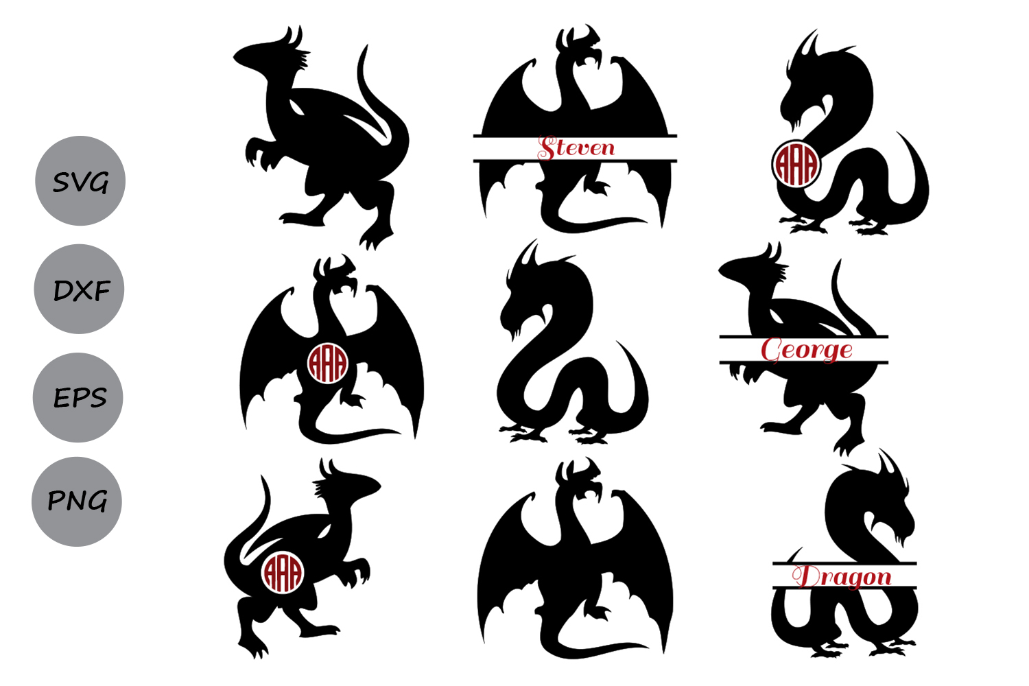 Download Free Dragon Monogram Graphic By Cosmosfineart Creative Fabrica for Cricut Explore, Silhouette and other cutting machines.