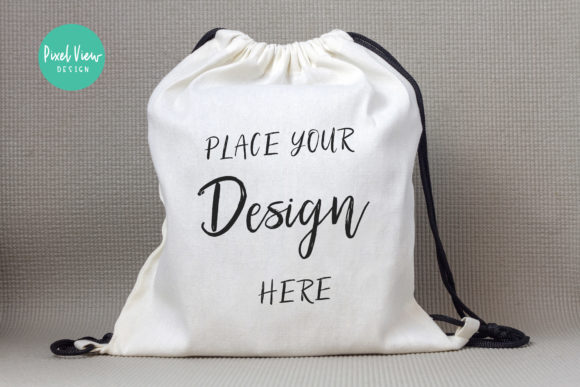 Print on Demand: Drawstring Canvas Backpack Mockup Graphic Product Mockups By Pixel View Design
