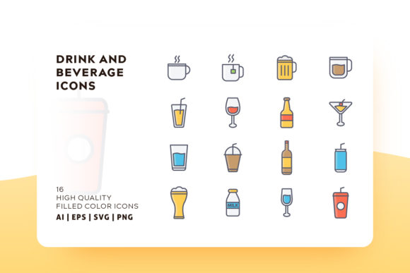 Drink and Beverage Icon Pack Graphic Icons By Goodware.Std - Image 1
