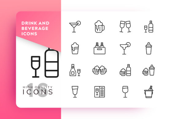 Drink and Beverage Icon Pack Graphic Icons By Goodware.Std