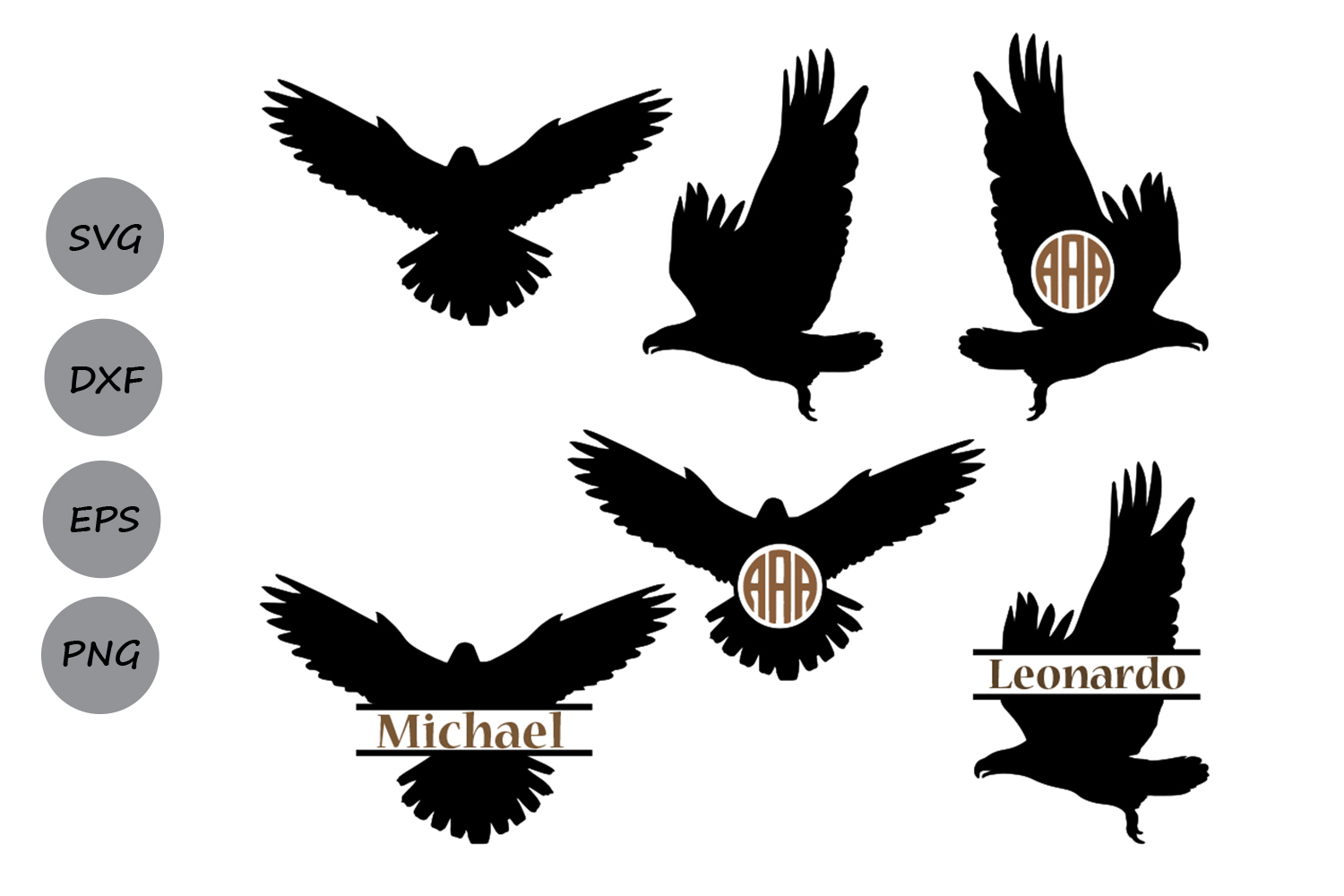 Download Free Eagle Monogram Graphic By Cosmosfineart Creative Fabrica for Cricut Explore, Silhouette and other cutting machines.