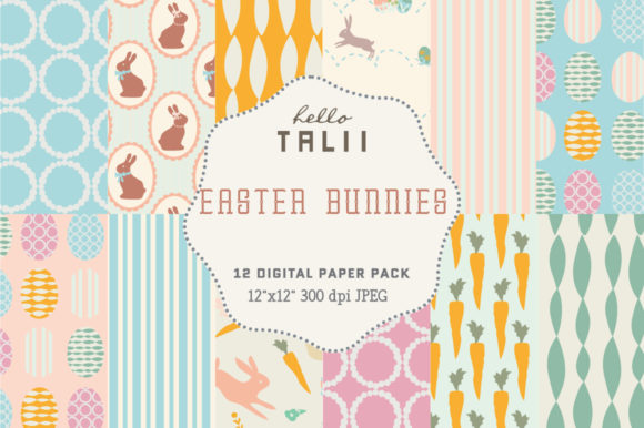 Easter Bunnies Digital Paper Graphic Patterns By Hello Talii