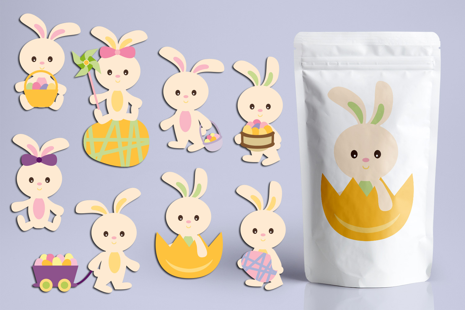 Download Free Easter Bunnies Graphic By Revidevi Creative Fabrica for Cricut Explore, Silhouette and other cutting machines.