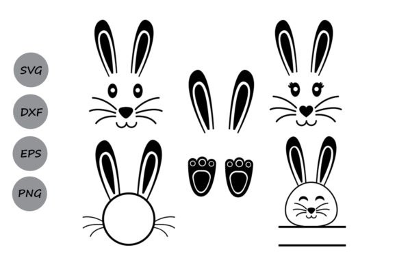 Download Free Easter Bunny Set Graphic By Cosmosfineart Creative Fabrica for Cricut Explore, Silhouette and other cutting machines.