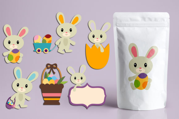 Download Free Easter Bunny And Eggs Graphic By Revidevi Creative Fabrica for Cricut Explore, Silhouette and other cutting machines.