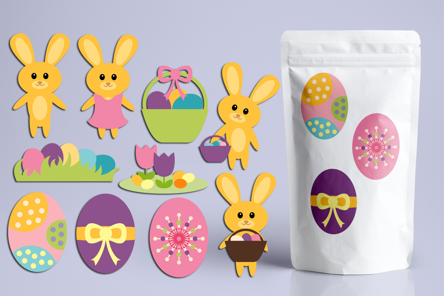 Download Free Cute Easter Bunny Eggs Graphic By Revidevi Creative Fabrica for Cricut Explore, Silhouette and other cutting machines.