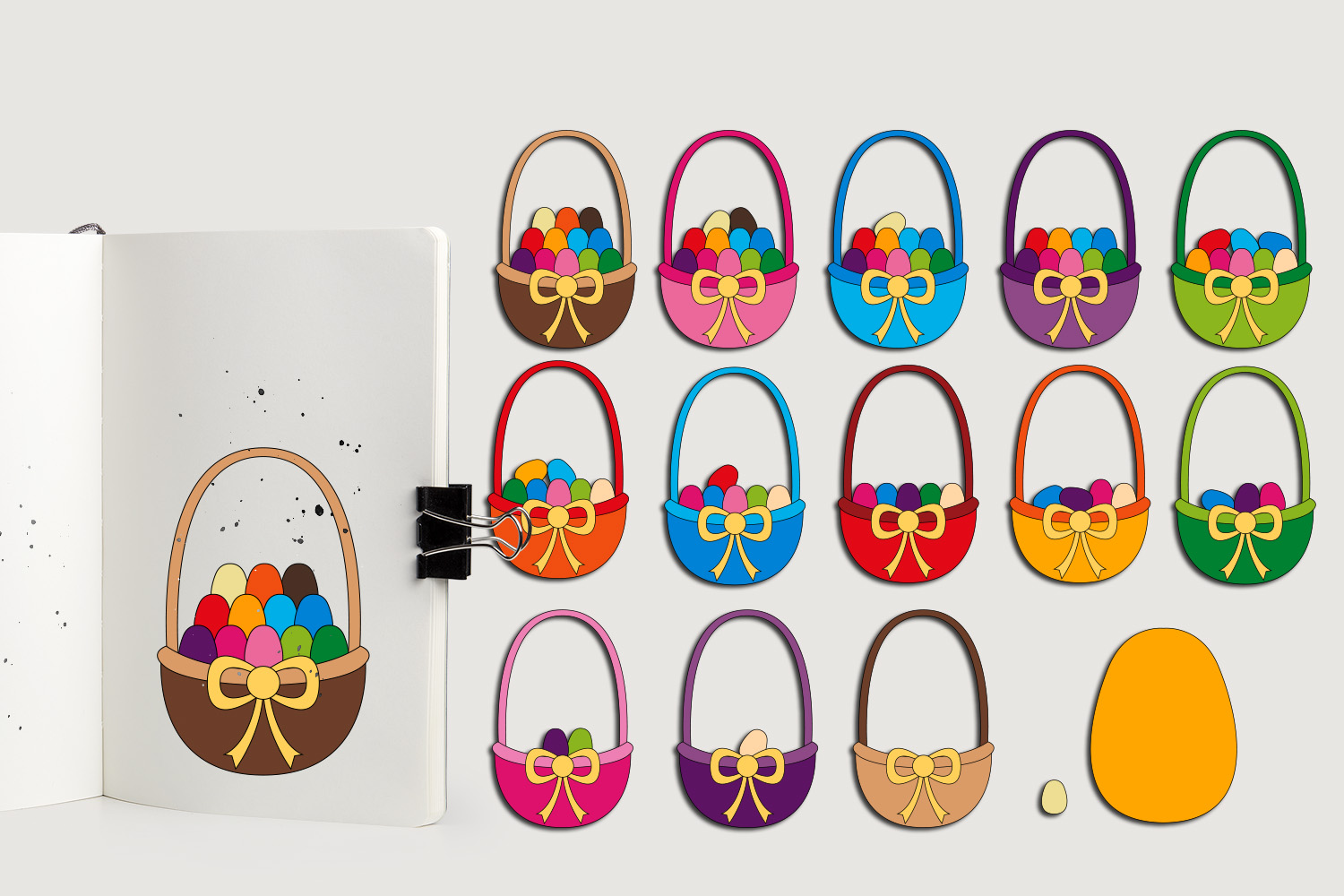 Download Free Easter Eggs In Basket Graphic By Darrakadisha Creative Fabrica for Cricut Explore, Silhouette and other cutting machines.