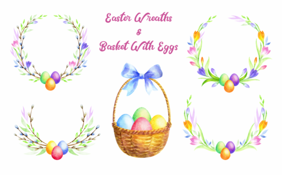 Easter Wreaths. Watercolor Clip Arts Graphic By Olga Belova Image 2